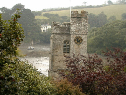 The tower of St Just in Roseland Church
